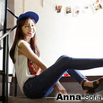 AnnaSofia-純色斜紋-街舞嘻哈球帽-藍系