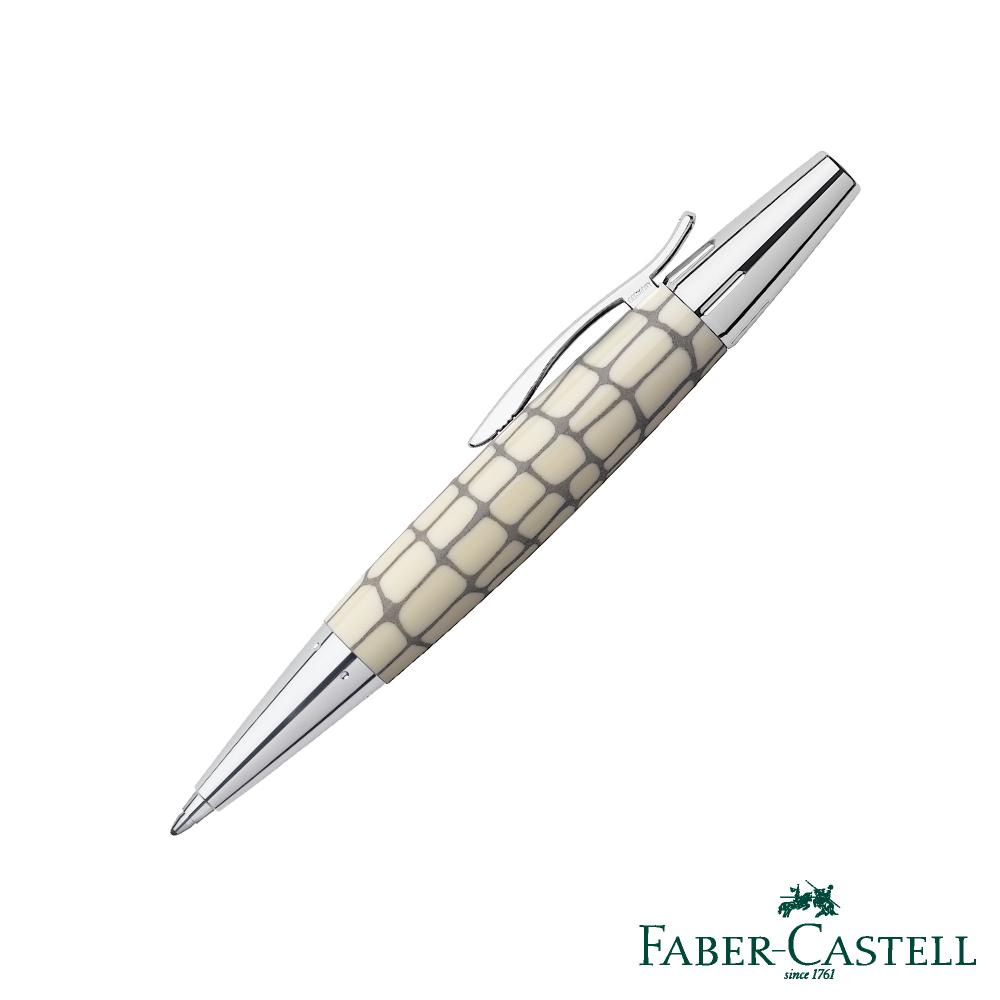 Faber-Castell E-MOTION天然樹脂雕紋系列-鱷魚紋旋轉原子筆─象牙白