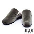 拖鞋 HELENE SPARK 質感絨布素面穆勒粗跟拖鞋-綠