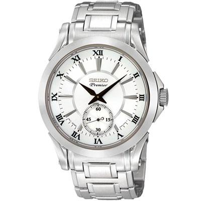 SEIKO Premier 洗鍊美學時尚腕錶(SRK019J1)-銀白