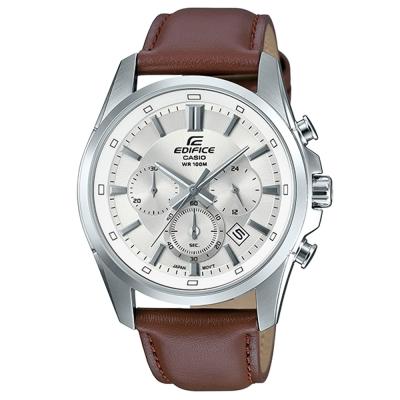 EDIFICE非凡質感簡約新時尚計時皮帶腕錶(EFR-560L-7)白面X咖啡43.7mm