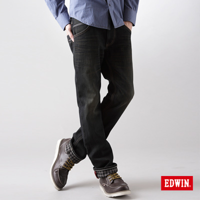 【EDWIN】大尺碼 EDGE W-F中直筒保溫褲-男款(中古藍)