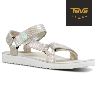 TEVA 美國-女 Original Universal 真皮涼鞋 (蛇紋白)