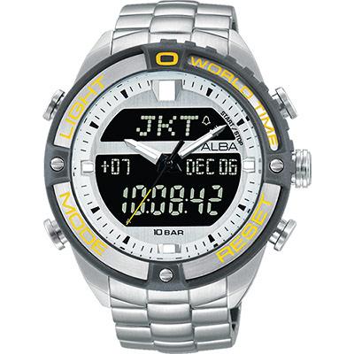 ALBA 雅柏 W兩個世界雙顯腕錶(AZ4019X1)-銀灰圈/44mm