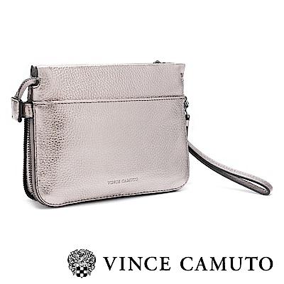 Vince Camuto 素面拉鍊手拿肩背兩用包-鐵色
