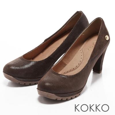 KOKKO通勤OL- 全真皮3mm乳膠慢跑高跟鞋- 咖啡