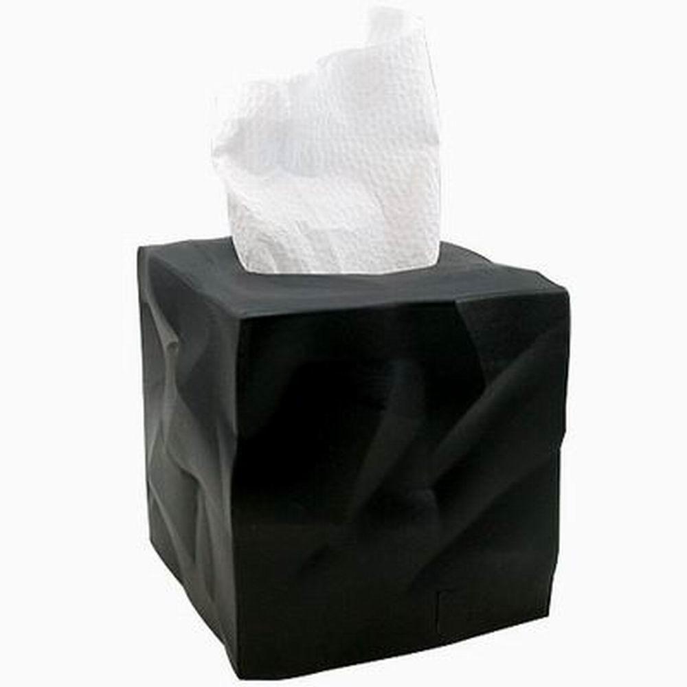 【iSFun】歐風設計折皺感面紙盒罩/黑