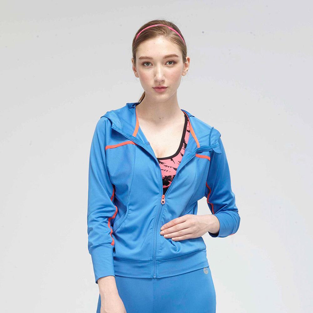 【TOP GIRL】運動針織連帽外套-藍色