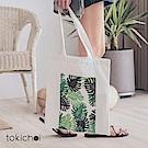 東京著衣 草系印花帆布包(共一色)