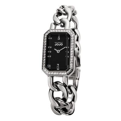 NATURALLY JOJO 雅緻經典方形時尚腕錶-黑/18mm