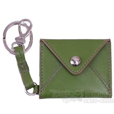 TOD'S 經典LOGO皮革鎖圈照片吊飾(果綠)