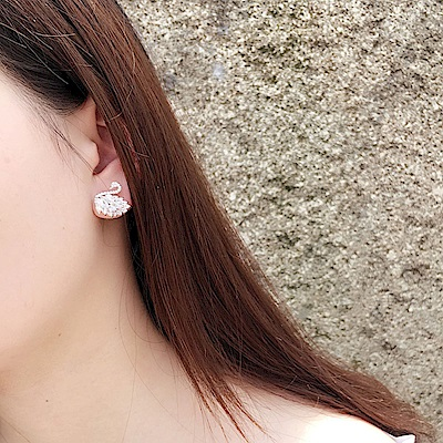 梨花HaNA 韓國天鵝晶瑩剔透水晶耳環