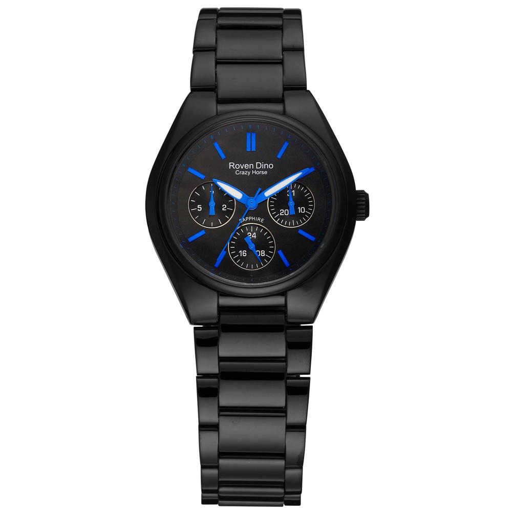 Roven Dino羅梵迪諾 愛情鉅作三環日期腕錶-黑藍/35mm