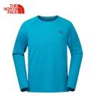 The North Face北面男款藍色吸濕速乾透氣運動休閒長袖T恤