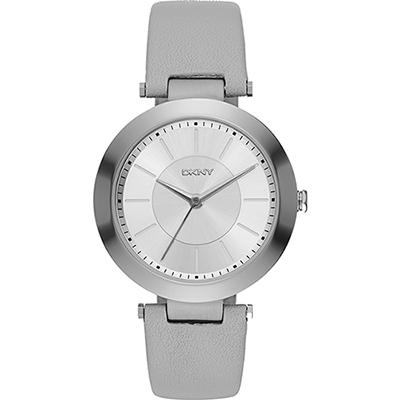DKNY Stanhope 名模風采時尚腕錶-銀x灰/36mm