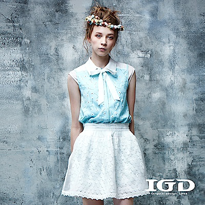 IGD英格麗 都會悠閒風蒲公英印花拼接雪紡綁帶造型上衣