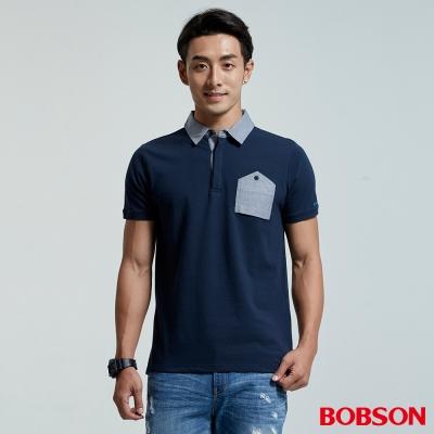 BOBSON 男款口袋裝飾灰領polo上衣