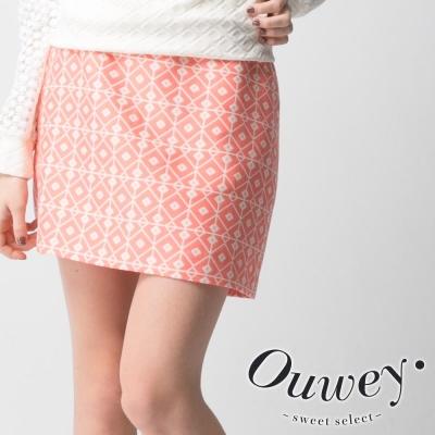 OUWEY歐薇-幾何格紋裙型褲裙