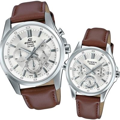 CASIO真摯心意簡約新時尚計時皮帶指針對錶-白面X咖啡43.7/39mm