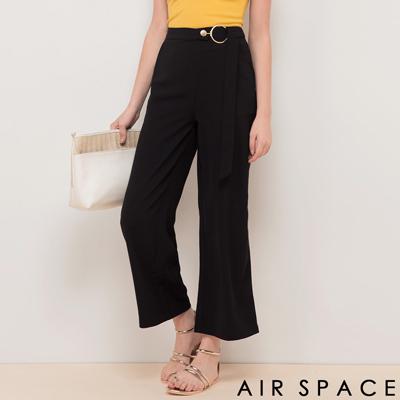 AIR SPACE 金屬圈腰帶西裝寬褲(黑)