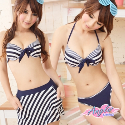 天使霓裳 夏日好感女孩 三件式鋼圈比基尼泳裝(藍M~L)