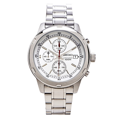 SEIKO 精工三眼計時賽車腕錶(SKS417P1)-銀白/42mm