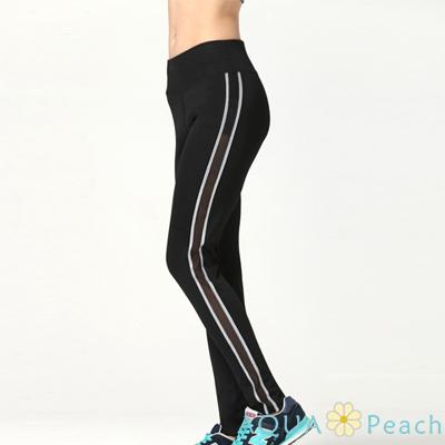 運動褲 側邊拼色微縷設計彈性長褲 (黑色)-AQUA Peach