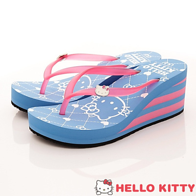 Hello Kitty-厚底夾腳拖款-915049藍粉(女段)