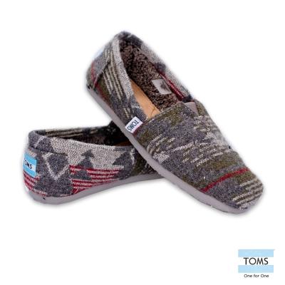 TOMS 經典圖紋針織懶人鞋-女款(灰)