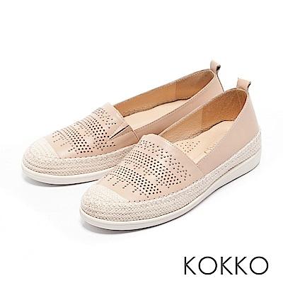 KOKKO -涼風野餐麻繩彈力休閒鞋-蜜桃粉