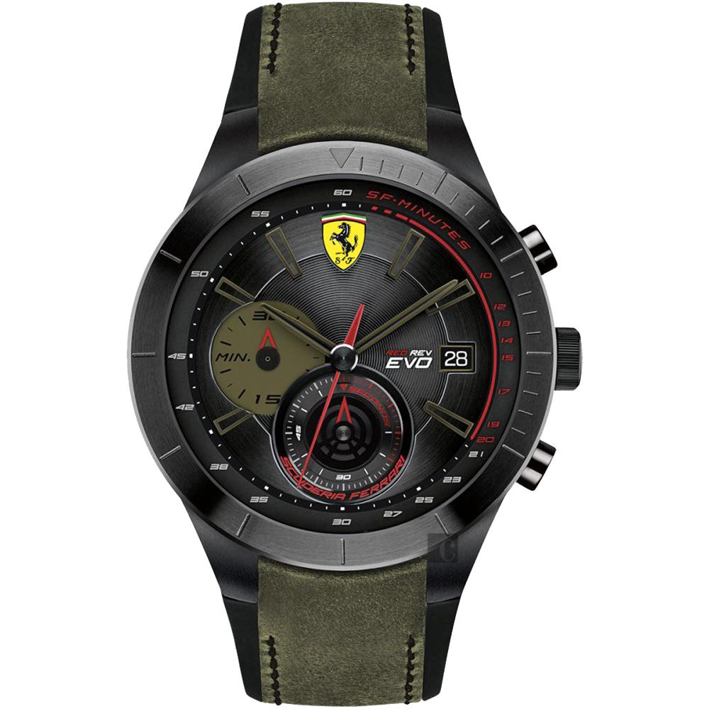 Scuderia Ferrari 法拉利 Evo 計時手錶-黑x綠/46mm