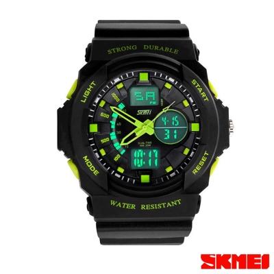 SKMEI時刻美 雙機芯多功能運動電子錶-綠指針