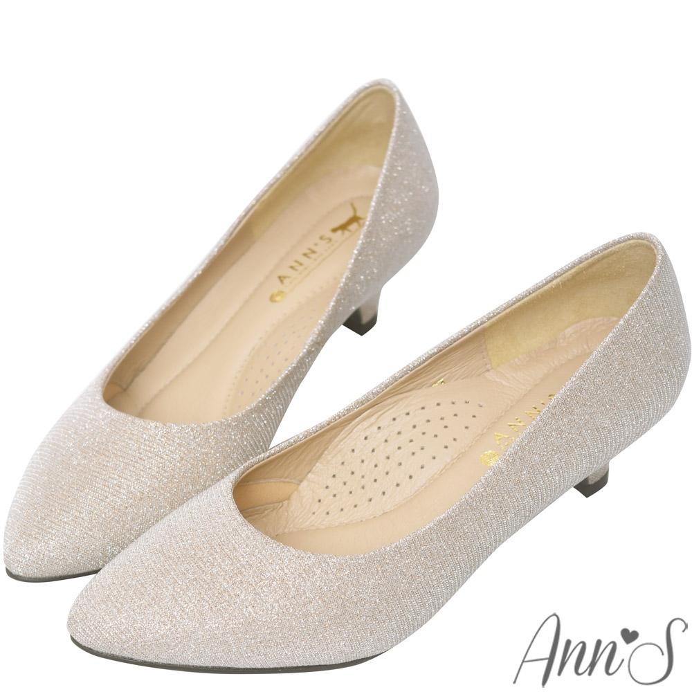 Ann'S閃爍夢幻-細緻星光絕世美尖頭低跟婚鞋-粉金