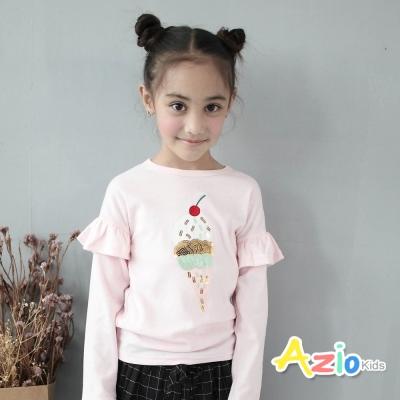 Azio Kids 童裝-上衣 亮片冰淇淋荷葉袖長袖T恤(粉)