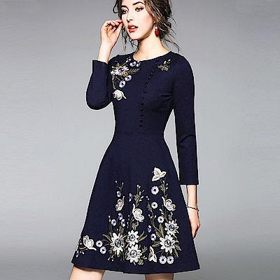 ABELLA 艾貝拉 深藍優雅立體刺繡側邊排釦圓裙洋裝(S-2XL)