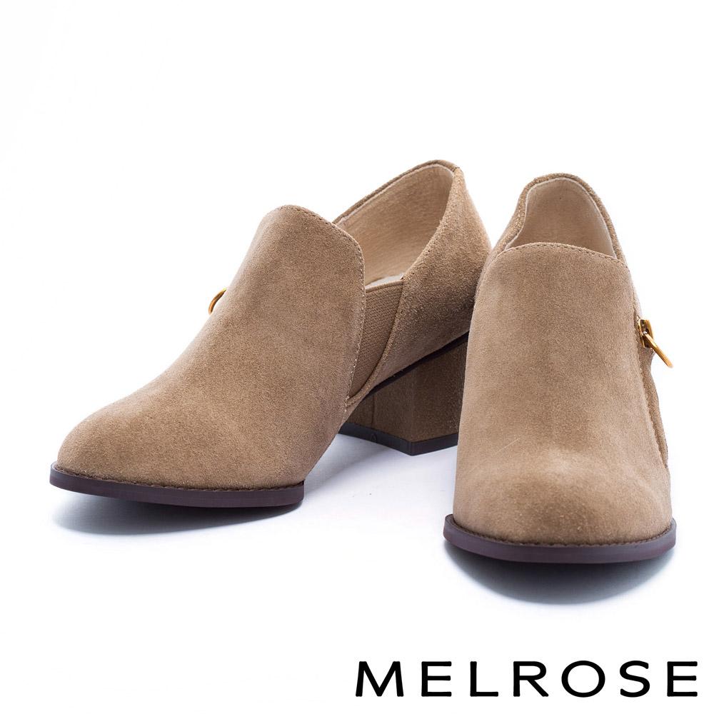 高跟鞋 MELROSE 簡約俐落牛麂皮舒適素面粗跟鞋-駝