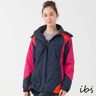ibs競技休閒色塊拼接機能外套-丈青/桃紅橘-女