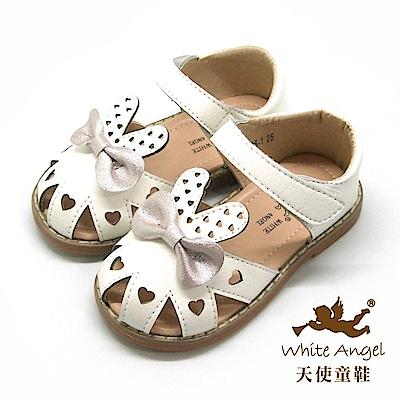 天使童鞋 愛心兔兔護趾涼鞋 i2878-白