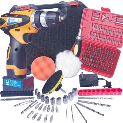 狠鑽25V 雙速充電式鋰電池電鑽+拋光輪+101工具組