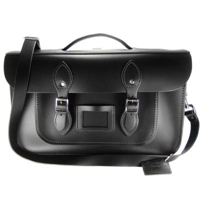 The Leather Satchel 英國手工牛皮劍橋包 肩背後背包 火炭黑 15吋