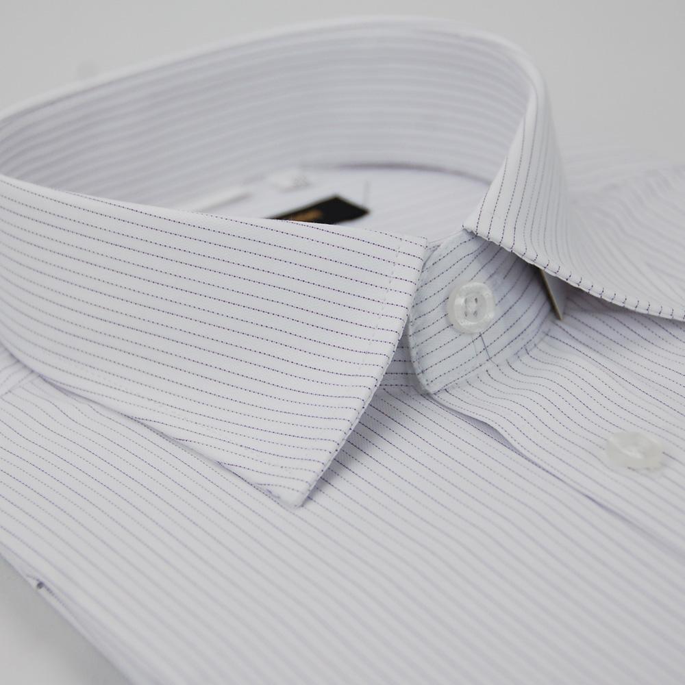 【金安德森】白底紫細條紋窄版短袖襯衫