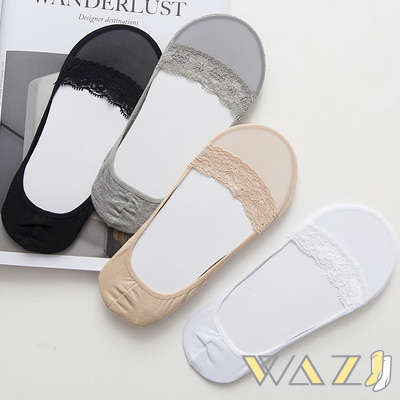 Wazi-單色包邊透膚網紗隱形襪 (1組四入)