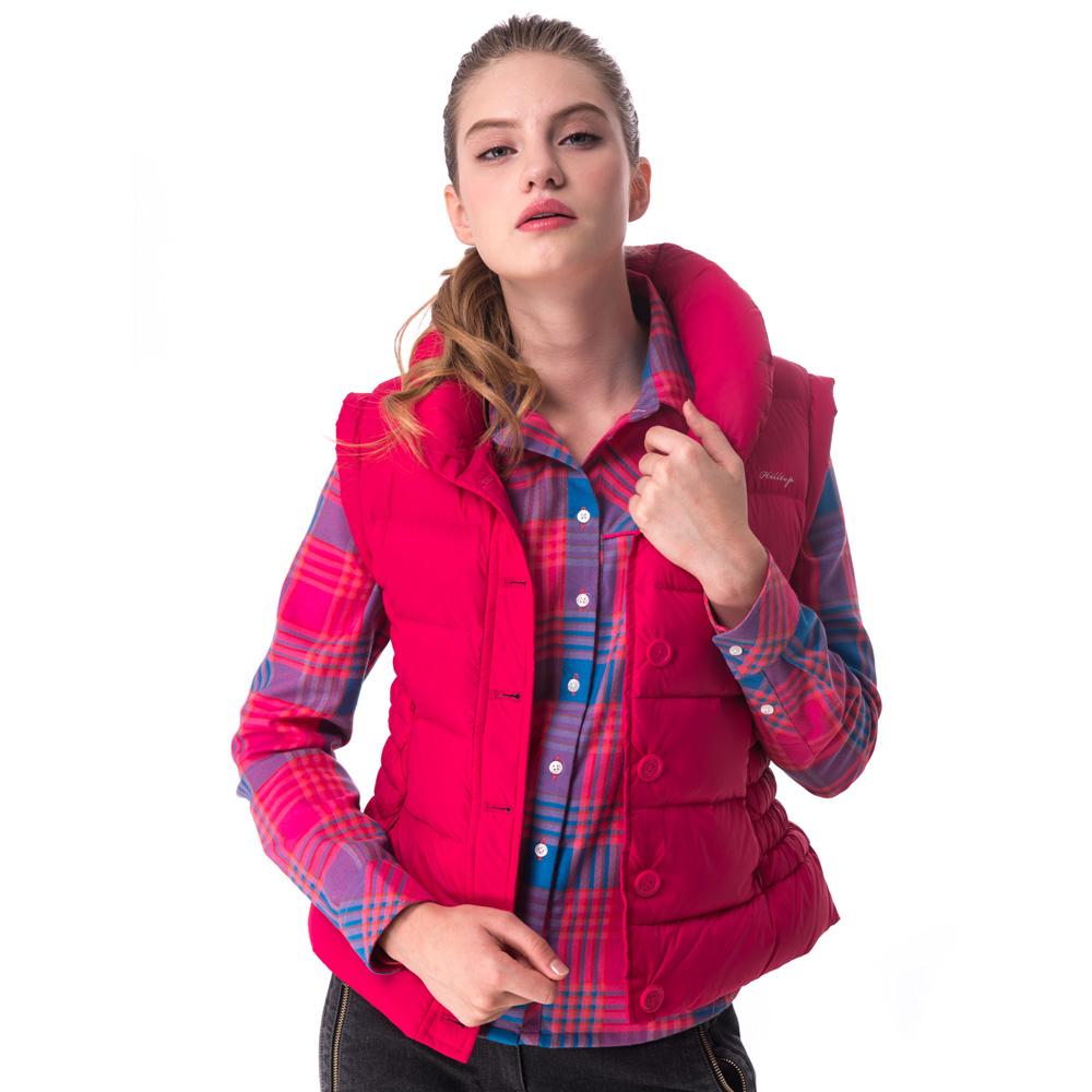 【hilltop山頂鳥】女款超撥水保暖蓄熱羽絨背心F25FG3紅