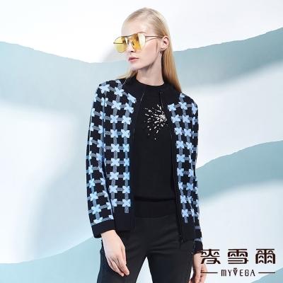 麥雪爾  立體花紋與格紋羊毛外套-藍