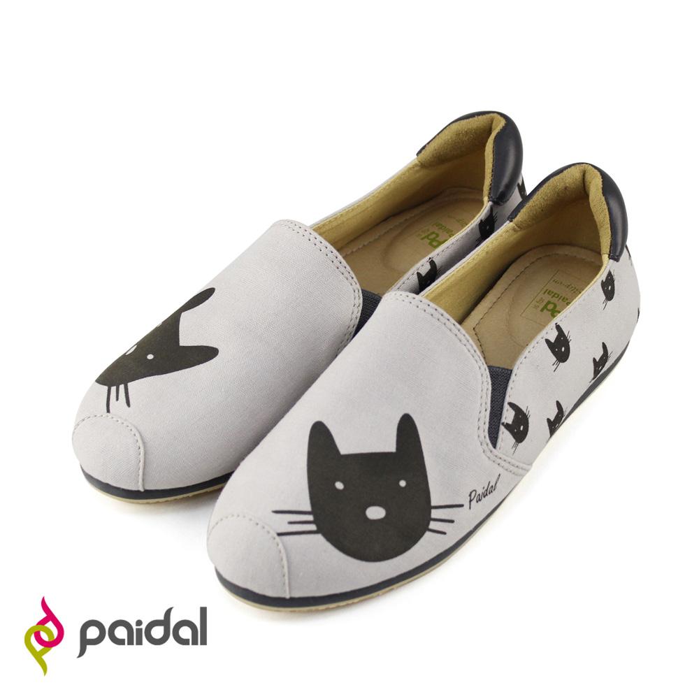Paidal童話貓咪印花平底休閒鞋樂福鞋-俏皮灰