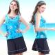 三件式泳裝 假兩件V領短褲短裙款 (海洋風印花圖騰M-L) TiNyHouSe product thumbnail 1