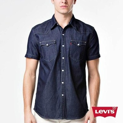男款西部短袖襯衫深靛藍-Levis