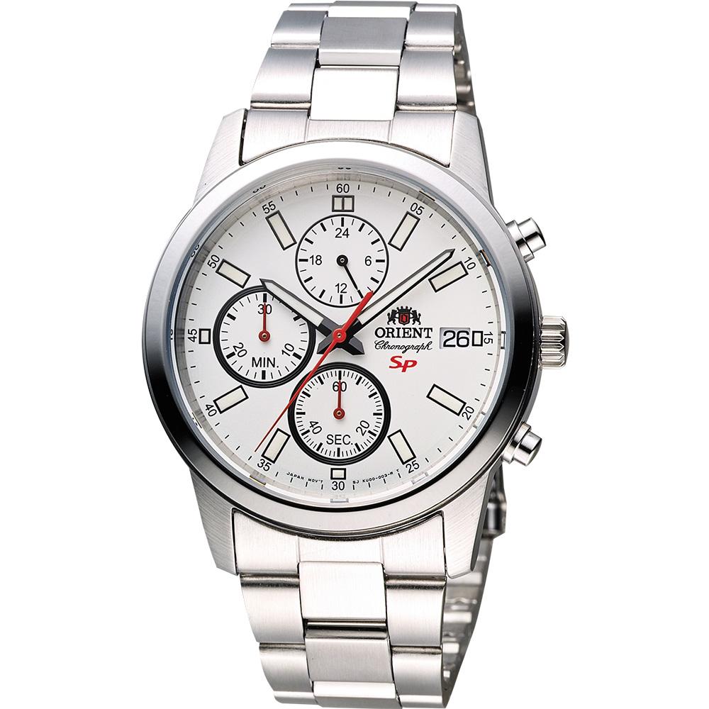ORIENT東方 SP 尖鋒時刻計時手錶FKU00003W-白x銀/41mm @ Y!購物