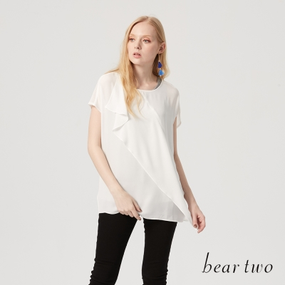 beartwo 異材質拼接雪紡造型上衣(二色)