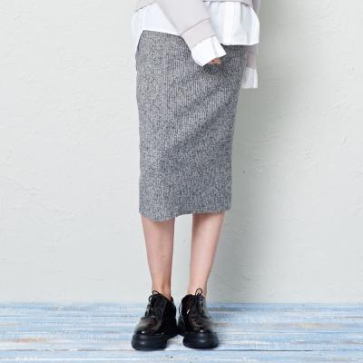 坑條毛料窄裙-兩色-CACO